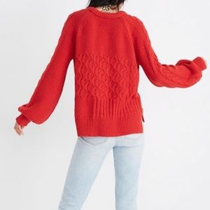 Madewell Copenhagen red cable knit sweater